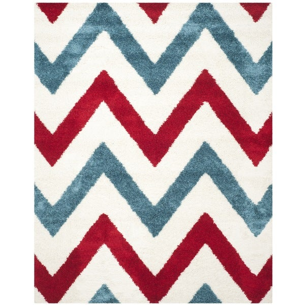 Safavieh Kids Shag Ivory/ Red Chevron Rug - 8'6 x 12'