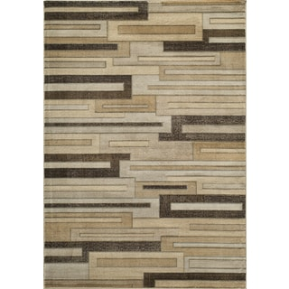 Illusion Power-Loomed Brown Cube Rug (7'10 x 9'10)
