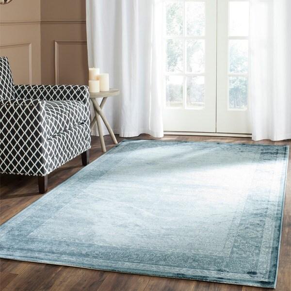 Safavieh Vintage Oriental Dark Blue/ Light Blue Distressed Silky Viscose Area Rug (8' x 11')