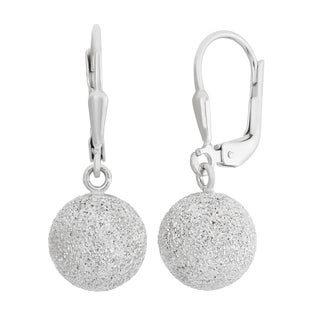 Gioelli Sterling Silver 10mm Laser-cut Leverback Dangle Earrings