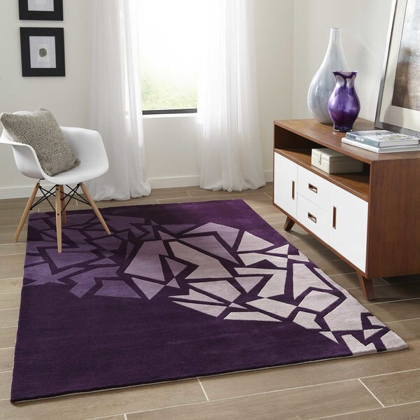 "Momeni New Wave Purple Hand-Tufted and Hand-Carved Wool Rug - 7'6"" x 9'6"""