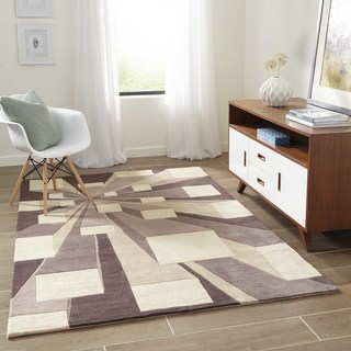 Momeni New Wave Concrete Hand-Tufted and Hand-Carved Wool Rug