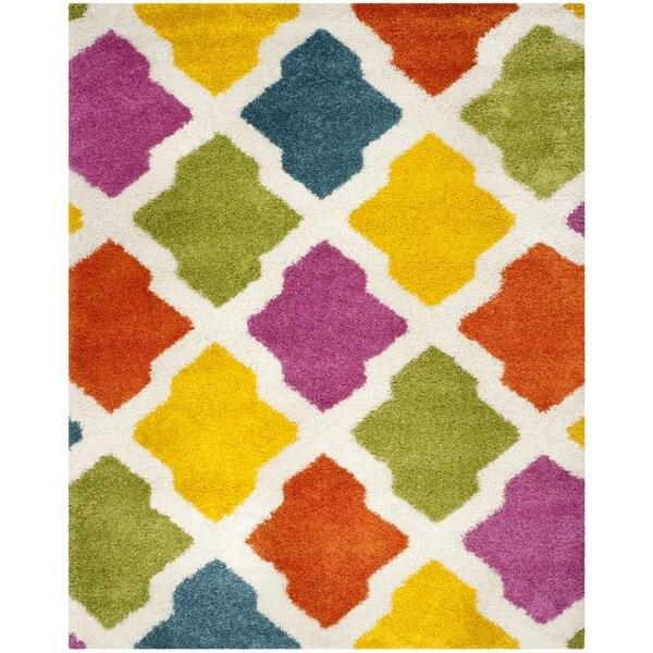Safavieh Kids Shag Ivory/ Multi Rainbow Geometric Rug - 8' x 10'
