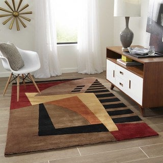Momeni New Wave Black Hand-Tufted and Hand-Carved Wool Rug (7'6 X 9'6)