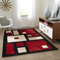 Momeni New Wave Black Hand-Tufted and Hand-Carved Wool Rug - 7'6 x 9'6