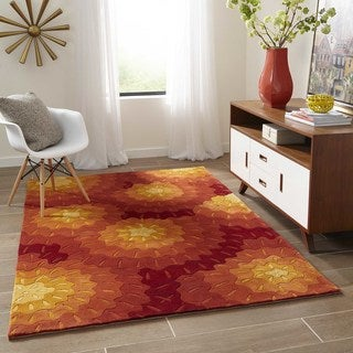 Momeni New Wave Orange Hand-Tufted and Hand-Carved Wool Rug (7'6 X 9'6)