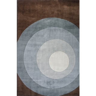 Momeni New Wave Teal Hand-Tufted and Hand-Carved Wool Rug (7'6 X 9'6)