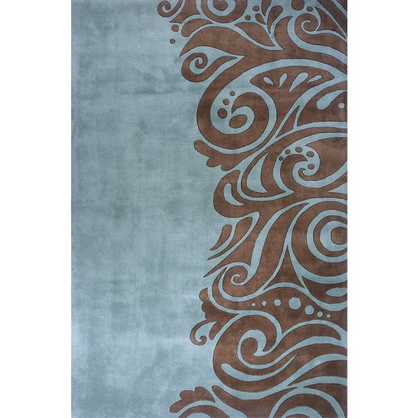 Momeni New Wave Turquoise Hand Tufted And Carved Wool Rug 7