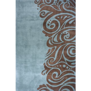 Momeni New Wave Turquoise Hand-Tufted and Hand-Carved Wool Rug (7'6 X 9'6)
