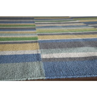 Mersa Asymmetric Stripe Reversible Flat Weave Wool Dhurrie Area Rug (8' x 10')