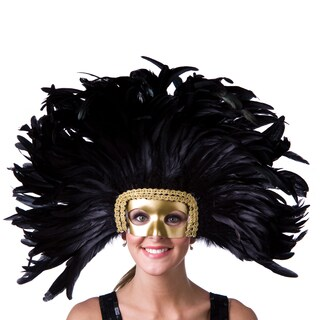 Coque Feather Headdress Mask Dyed with Removable Mask