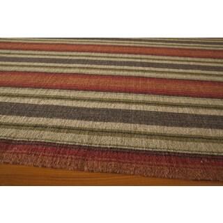 Danville Varigated Stripe Reversible Flat Weave Wool Dhurry Area Rug (8' x 10')