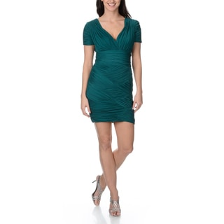 Halston Heritage Women's Contemporary Tuck and Fold Jade Cocktail Dress
