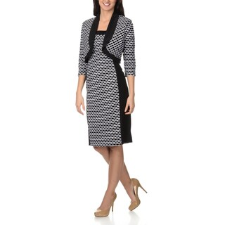 R&M Richards Women's Black/ White Textured Knit Dress with Jacket