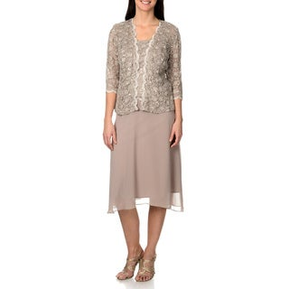 R&M Richard Women's Mocha Lace and Sequin 2-piece Dress Set