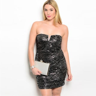 Shop The Trends Women's Plus Size Abstract Metallic Pattern Strapless Mini Dress