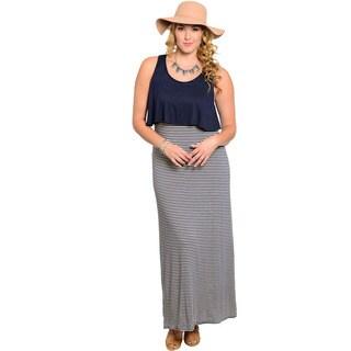 Feellib Women's Plus Size Striped Sleeveless Maxi Dress