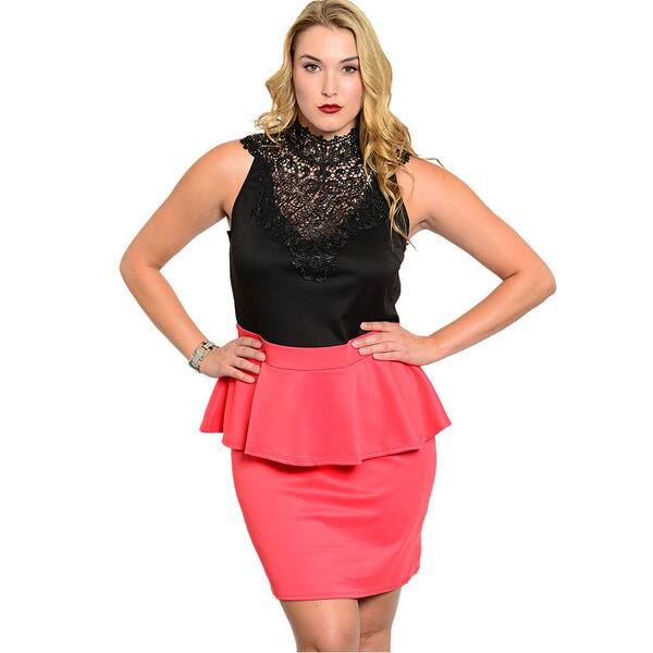 Shop Shop The Trends Women\'s Plus Size Lace Peplum Dress ...