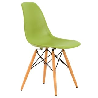 LeisureMod Dover Green Plastic Molded Side Chair with Wood Dowel Legs