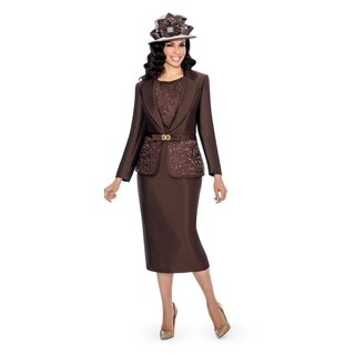 Giovanna Collection Women's Laser-cut Embellished 3-piece Skirt Suit (More options available)
