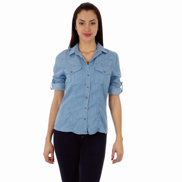 1550cce6 Shop Dinamit Women's Tencel Denim Safari Button-up Shirt - Free ...