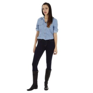 Dinamit Women's Tencel Denim Safari Button-up Shirt