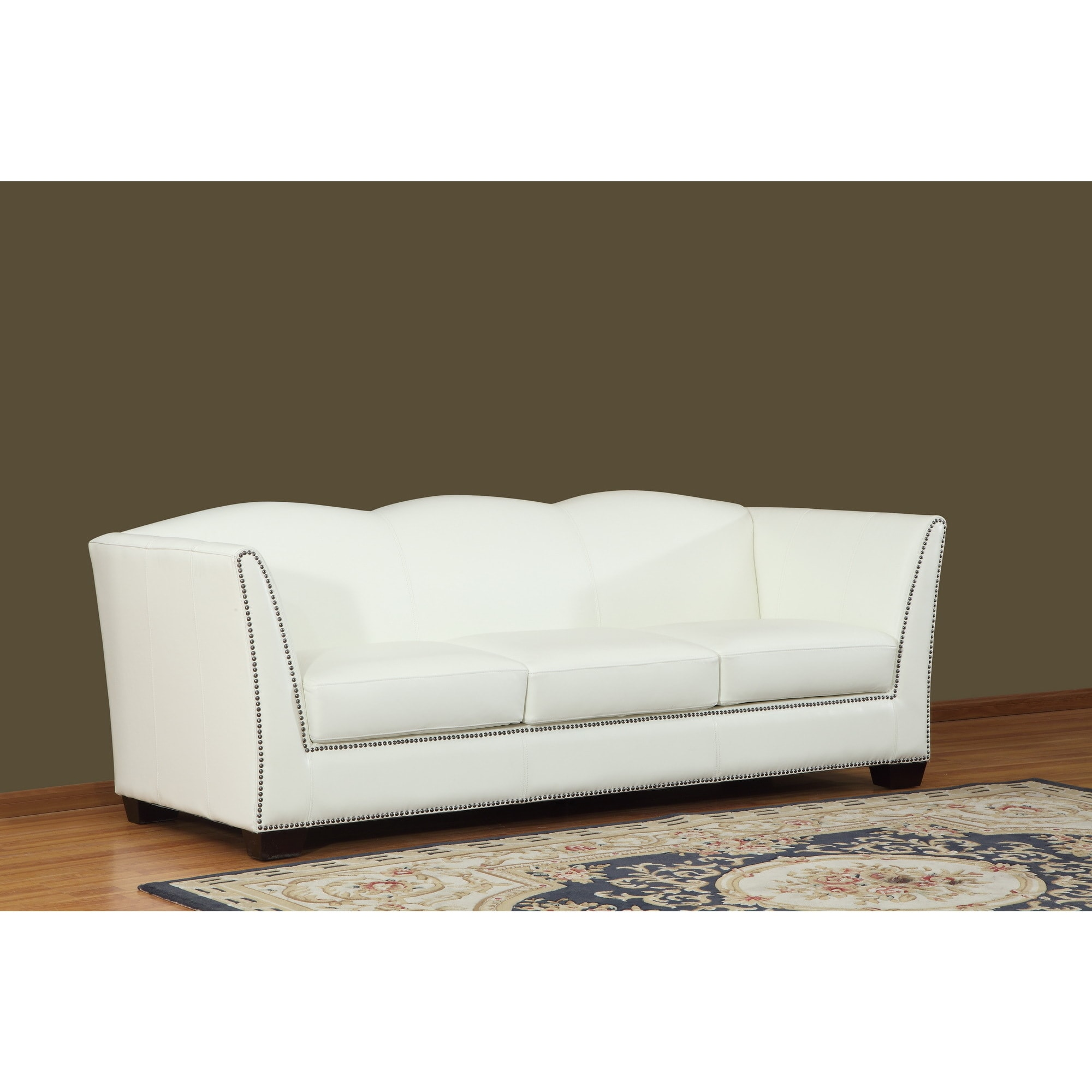 Lazzaro Leather Marilyn Leather Sofa (White Leather with ...
