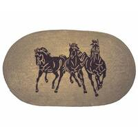 HiEnd Accents Three Horse Jute Light Chocolate Acrylic Rug