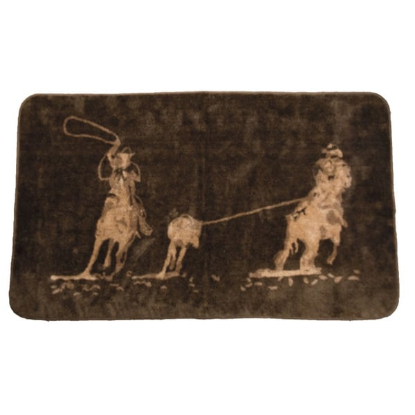 HiEnd Accents Team Roping Bathroom/ Kitchen Dark Chocolate Acrylic Rug