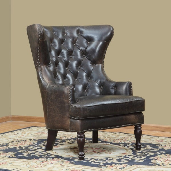Charmant Sedgefield Wing Back Leather Tufted Back Chair By Lazzaro Leather