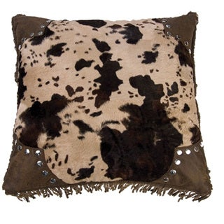 Scalloped 18-inch Faux Cowhide Pillow