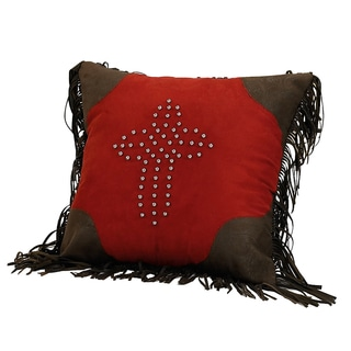 Red Studded 18-inch Cross Pillow with Fringe