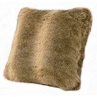 18-inch Faux Fur Wolf Pillow