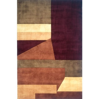 Momeni New Wave Wine Hand-Tufted and Hand-Carved Wool Rug (9'6 X 13'6)