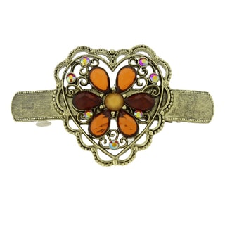 1928 Antiqued Goldtone Topaz Flower/ Filigree Heart Hair Barrette