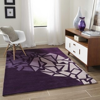 "Momeni New Wave Purple Hand-Tufted and Hand-Carved Wool Rug (9'6 X 13'6) - 9'6"" x 13'6"""