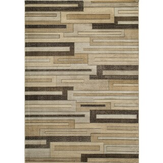 Illusion Power-Loomed Brown Cube Rug (9'3 x 12'6)