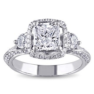 Miadora 18k White Gold 1 3/4ct TDW Certified Radiant-cut Diamond 3-stone Engagement Ring
