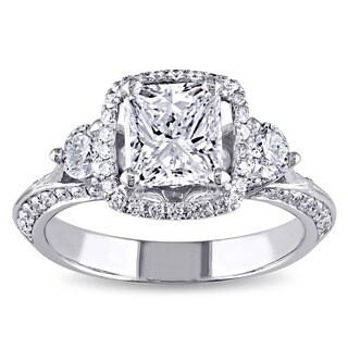 Miadora 18k White Gold 1 3/4ct TDW Certified Radiant-cut Diamond 3-stone Engagement Ring