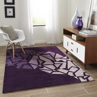 Momeni New Wave Purple Hand-Tufted and Hand-Carved Wool Rug - 8' x 11'
