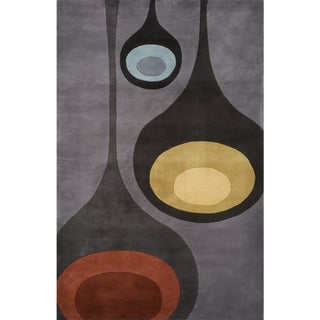 Momeni New Wave Steel Hand-Tufted and Hand-Carved Wool Rug (8' X 11') - 8' x 11'