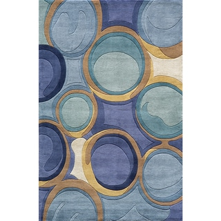 Momeni New Wave Blue Hand-Tufted and Hand-Carved Wool Rug - 8' x 11'