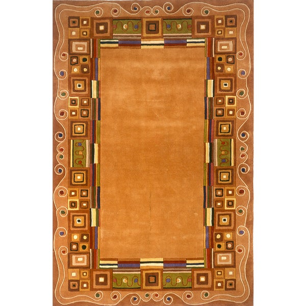Momeni New Wave Gold Hand-Tufted and Hand-Carved Wool Rug - 8' x 11'
