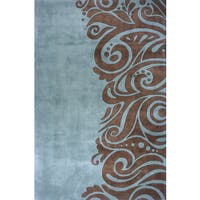 Momeni New Wave Turquoise Hand-Tufted and Hand-Carved Wool Rug (8' X 11')