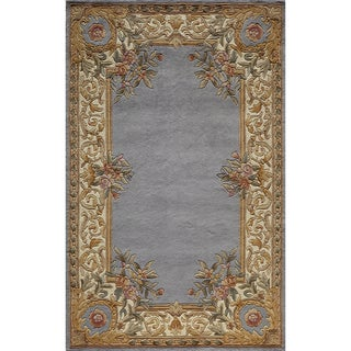 Aubusson Hand-tufted Wool Floral Border Rug (8' x 11')