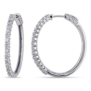 Miadora Signature Collection 14k White Gold 1 1/3ct TDW Diamond Hoop Earrings