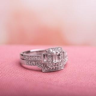 Link to Miadora 10k White Gold 2/5ct TDW White Diamond Parallel Baguette Square Bridal Set Similar Items in Wedding Rings