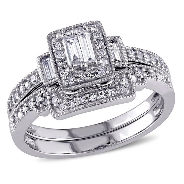 Miadora 2/5ct TDW Parallel Baguette and Round-Cut Diamond Square Vintage Bridal Set in 10k White Gold (G-H, I1-I2)