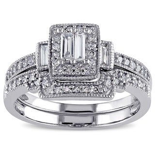 Miadora 10k White Gold 2/5ct TDW White Diamond Parallel Baguette Square Bridal Set