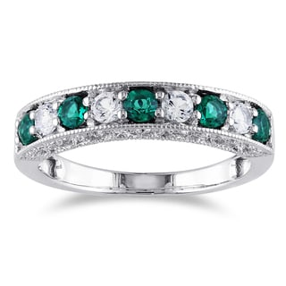 Miadora 10k White Gold Simulated Emerald and Created White Sapphire Anniversary Ring